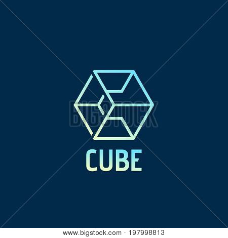 Cube Abstract Vector Sign, Emblem or Logo Template. Letter C Incorporated in a Geometry Symbol with Typography. On Dark Blue Background.