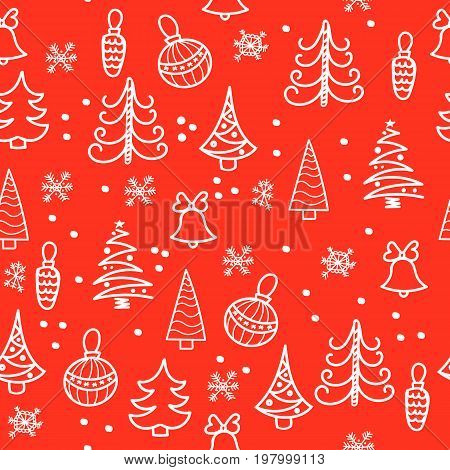 Seamless Christmas pattern. Christmas tree, decorations bells