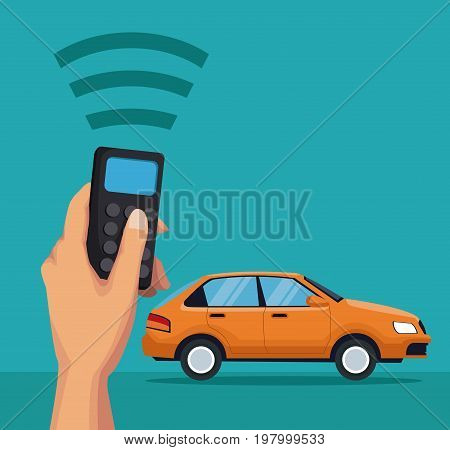 color background of classic car vehicle with hand holding a remote control of location sygnal vector illustration