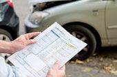 Accident statement paper used after a car accident poster