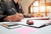 A Man Insurance broker offer protect your car Insurance auto car concept and Insurance reimbursement vehicle Concept poster