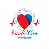 Cardiology vector conceptual emblem made with a heart pulsating electrocardiogram. Cardiology diagnosis clinic logotype. poster