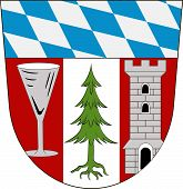 "Coat of arms of Regen is a district in Bavaria Germany. Vector illustration from the ""Heraldry of the World"" authors and compilers Olga Bortnik Ivan Rezko 2008 poster"