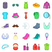 Adornment icons set. Cartoon set of 25 adornment icons for web isolated on white background poster