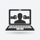 cyberbullying concept. man victim of online harassment. vector illustration - eps 10 poster