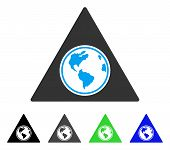 Terra Triangle flat vector pictogram. Colored terra triangle gray, black, blue, green pictogram versions. Flat icon style for application design. poster