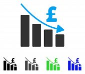 Pound Recession Bar Chart flat vector illustration. Colored pound recession bar chart gray, black, blue, green pictogram variants. Flat icon style for application design. poster