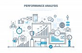 Performance analysis. Market research group, research, statistic, calculations. Implementation of innovations and accounting in projects, time management. Illustration design of vector doodles. poster