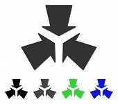 Shrink Arrows flat vector illustration. Colored shrink arrows gray, black, blue, green pictogram variants. Flat icon style for application design. poster
