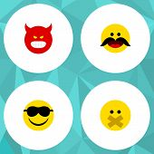 Flat Icon Gesture Set Of Pouting, Hush, Cheerful And Other Vector Objects poster