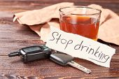 Automobile keys, message, glass of alcohol. Message stop drinking, car keys, glass of alcohol beverage. Stop drinking and obey the law. poster