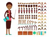 Flat female teacher or professor character creation vector constructor. Teacher cartoon person woman, character lady body parts teacher illustration poster