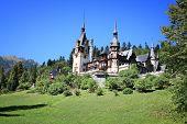 Romania landmark - Peles Castle. Renaissance revival style architecture. poster