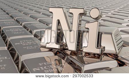 Nickel Ingots Background With Ni Symbol. 3d Rendering