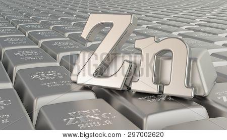 Zinc Ingots Background With Zn Symbol. 3d Rendering