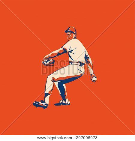 Baseball Player Better On Field. Vector Flat Illustration