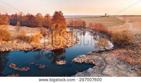 River Landscape In Sunlight From Above