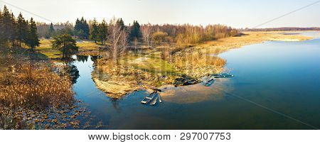 Panorama Of Lake In Forest At Morning Time. Clean Rural Environment Background.