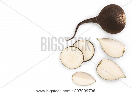 Black Radish With Slices Isolated On White Background With Copy Space For Your Text. Top View. Flat