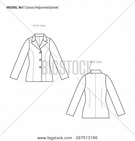 Fashion Technical Drawing Of The Women Jacket. Vector Technical Drawing For Fashion. Vector Fashion
