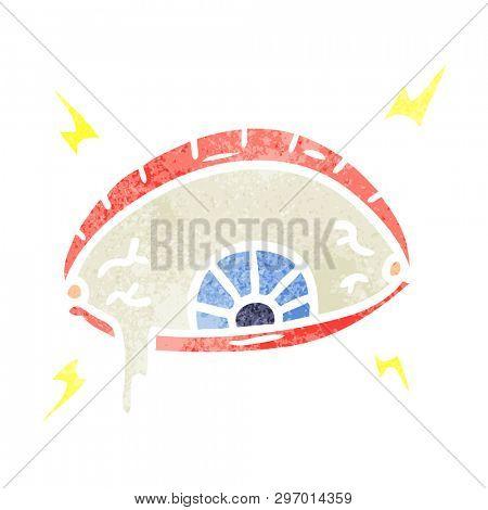 hand drawn retro cartoon doodle of an enraged eye