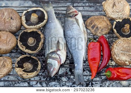 Two Delicious Fish European Bass (dicentrarchus Labrax) Grilling Over Coals With Mushrooms And Peppe