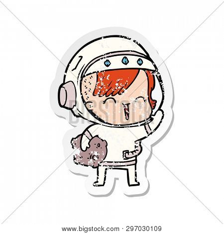 distressed sticker of a cartoon happy spacegirl holding moon rock