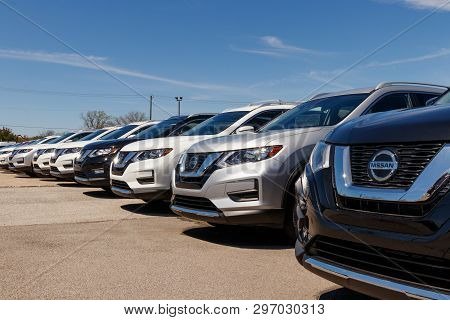 Fishers - Circa April 2019: New Vehicles At A Nissan Car And Suv Dealership. Nissan Is Part Of The R