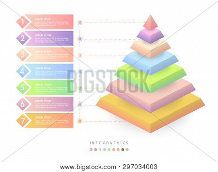 Vector Isometric Infographic Design Ui Template Colorful Gradient 7 Number Labels And Icons. Ideal F