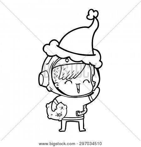 hand drawn line drawing of a happy spacegirl holding moon rock wearing santa hat