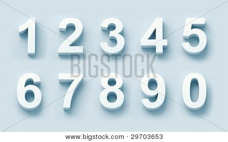 3d white numbers set