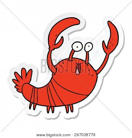 sticker of a cartoon lobster