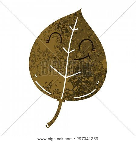 retro illustration style quirky cartoon happy leaf poster