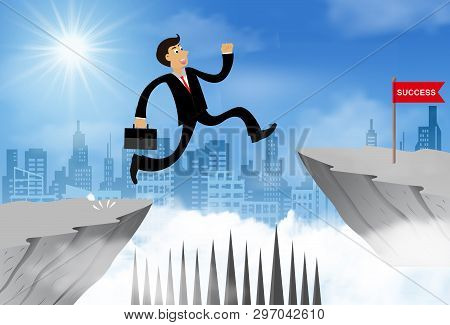 Businessman Jump From The Cliff Obstacle Over Chasm Go To The Opposite Goal.  Business Success. Chal