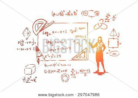 Mathematician With Pointer, Theorem Proof, Stationery Tools,complex Equations And Formulas. Scientis