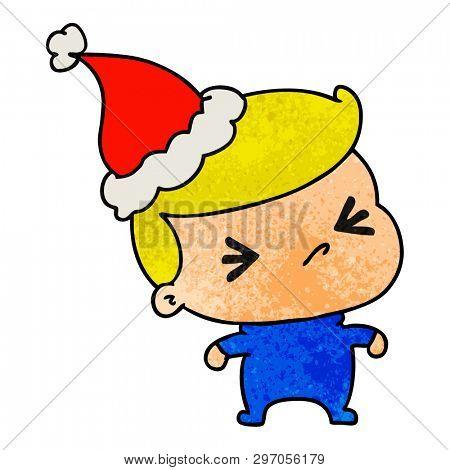hand drawn christmas textured cartoon of kawaii boy