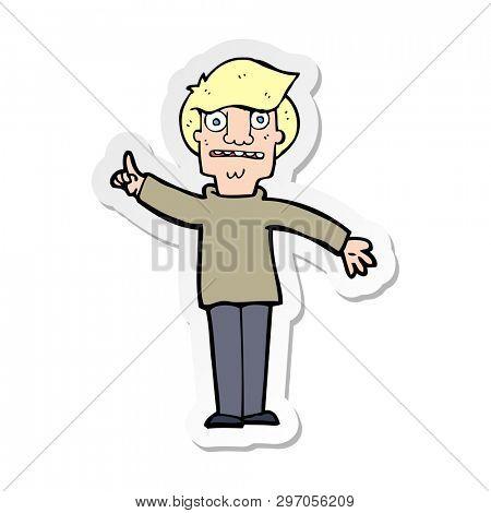sticker of a cartoon man asking question