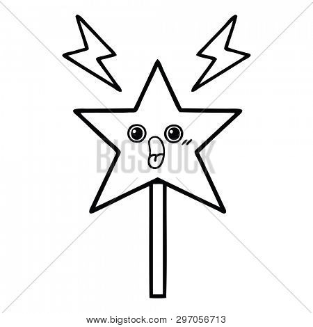 line drawing cartoon of a magic wand