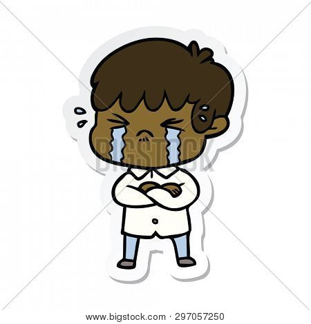 sticker of a crying boy cartoon