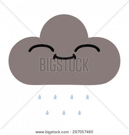 flat color retro cartoon of a storm rain cloud