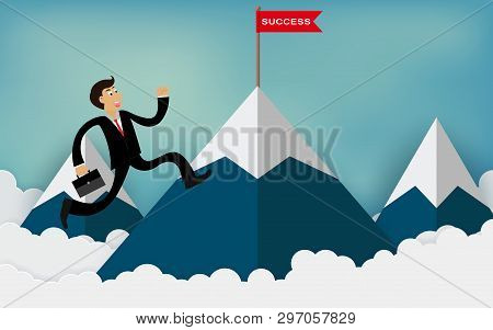 One Businessman Run Up To The Mountain Go To Red Flag With Success Message. To Be One Of The Highest