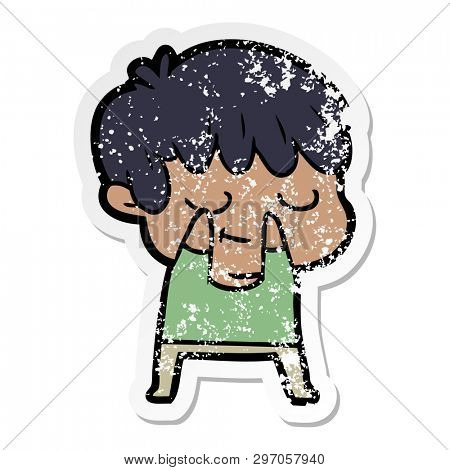 distressed sticker of a happy cartoon boy