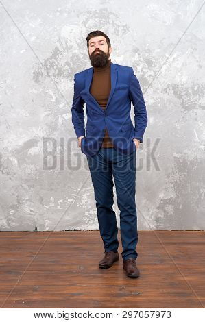 Elegant Man With Beard. Brutal Bearded Hipster In Formal Suit. Modern Life. Male Fashion Model In Fo