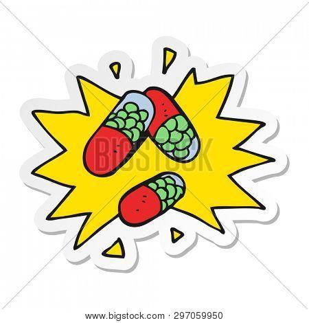 sticker of a cartoon medical pills