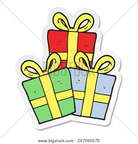 sticker of a cartoon christmas gifts