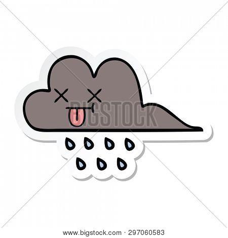 sticker of a cute cartoon storm rain cloud
