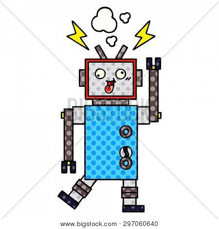 comic book style cartoon of a crazy broken robot