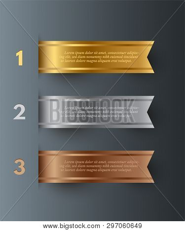 Vector Gold, Silver, Bronze Horizontal Ribbons With Text Space Isolated On Gray Background.