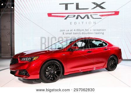NEW YORK, NY, USA - APRIL 17, 2019: Acura TLX shown at the New York International Auto Show 2019, at the Jacob Javits Center. This was Press Preview Day One of NYIAS
