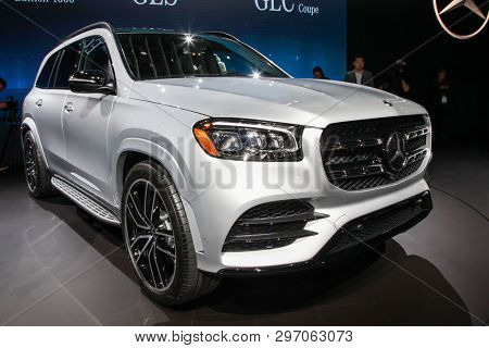 NEW YORK, NY, USA - APRIL 17, 2019: Mercedes-Benz GLS 580at the New York International Auto Show 2019, at the Jacob Javits Center. This was Press Preview Day One of NYIAS
